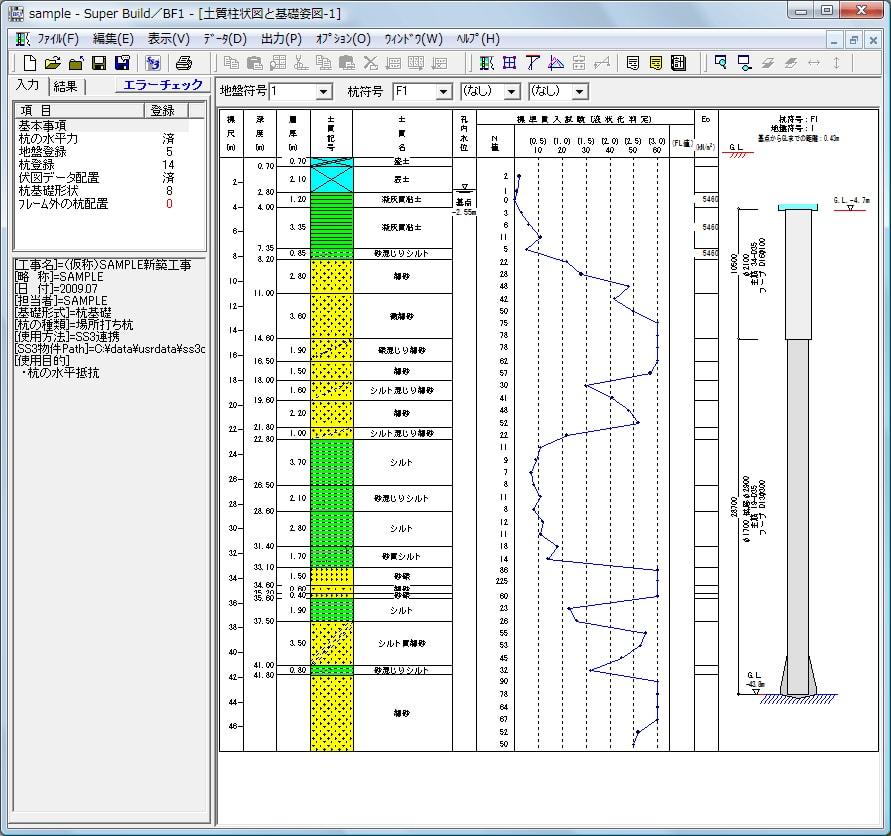 土質柱状図と基礎姿図