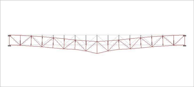 トラス梁中央加力時の変形状態