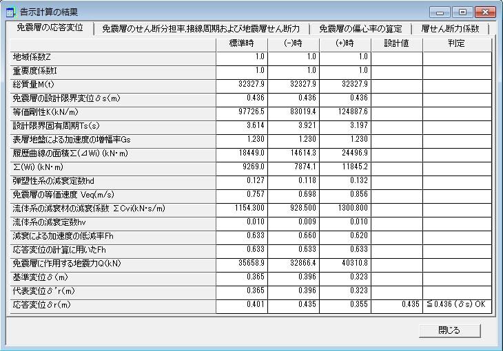 告示計算結果-免震層の応答変位
