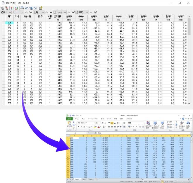 表形式の入力データおよび計算結果を『Excel』等へのコピー&ペーストが可能