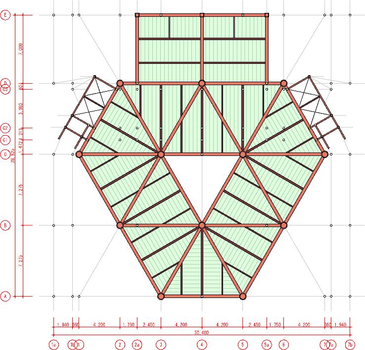 小梁に配置角度指定が可能