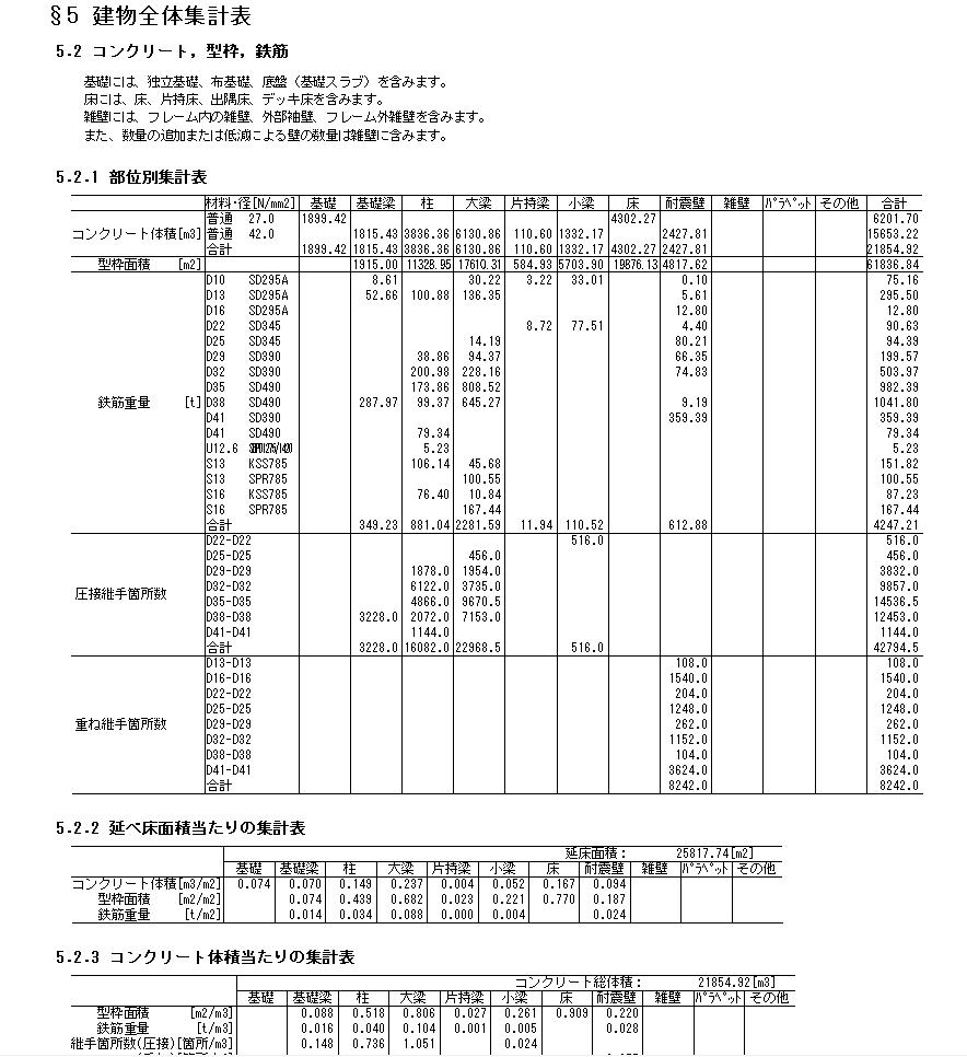 積算-建物全体集計表